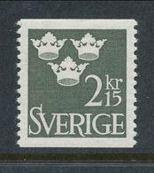 Sweden 1962 Facit # 311, Three Crowns, 2.15 Kr, Olive-green, MNH (**) - Nuovi