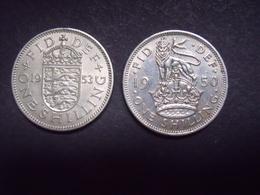 GRANDE BRETAGNE  = 2 MONNAIES DE 1 SHILLING  DE 1950 ET 1953 - 1971-… : Monnaies Décimales