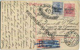 10 Cent - Landespost In Belgien - Postkarte über Teilungsstrich - Einschreiben - Zensur - Occupazione 1914 – 18