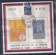 Bloc Souvenir Journee Du Timbre 1939 Le Havre Vignette Cathedrale De Reims - Lettres & Documents