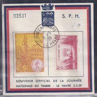 Bloc Souvenir Journee Du Timbre 1939 Le Havre Vignette  Anniversaire Armistice - Lettres & Documents