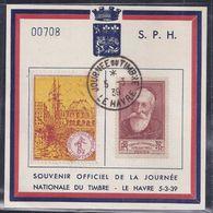 Bloc Souvenir Journee Du Timbre 1939 Le Havre Vignette Anatole France - Lettres & Documents