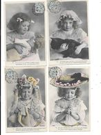10672 - Lot De 4 CPA Portraits Petites Filles - Ritratti