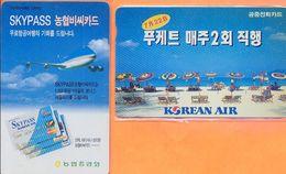Korea South - Two Cards, Airplane, Aviation, Skypass & Korean Air, Used - Avions