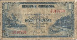 INDONESIE 1 RUPIAH 1951 VG+ P 38 - Indonésie