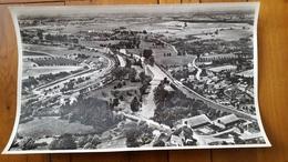 RARE PHOTO AERIENNE LAPIE SERVICE AERIEN  06/1957 SEMUY  ARDENNES FOMAT  45 X 27 CM - Orte