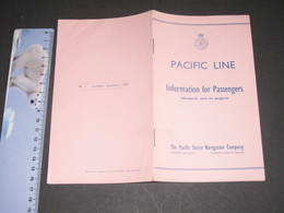 PACIFIC LINE - INFORMATION FOR PASSENGERS -DECEMBER 1954-16pp - Boats