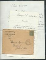 """Lac à Entète """" Hotel De La Croix Blanche - Courcier - Le Luart ( Sarthe )  ( Lire Commentaire ) - Af26706 - Postmark Collection (Covers)"""