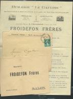 Lac De Salon Bouche Du Rhone , Entete Commerciale Froidefon Frères , Huilerie Le Gaulois ( Lire Détail )  - Af26707 - Storia Postale