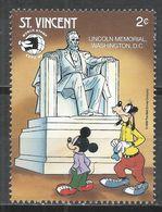 St. Vincet 1989. Scott #1257 (MNH) Lincoln Memorial, Washington DC, Walt Disney * - St.Vincent (1979-...)