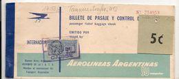 FRANCE - 1961 TIMBRE FISCAL Appliqué Au Billet D'avion Aerolineas Argentinas - Revenue Stamps