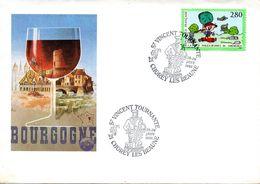 Enveloppe Illustrée -cachet Saint Vincent Tournante Les 28/29-01-1995 -21 CHOREY LES BEAUNE - Vins & Alcools
