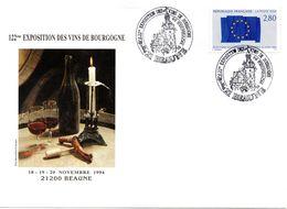 Enveloppe  Illustrée -cachet 122ème Xeposition Des Vins De Bourgogne 19/11/1994 à BEAUNE - Vins & Alcools