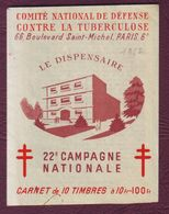 FRANCE 1952 - CARNET 10 VIGNETTES ANTITUBERCULEUX -  Publicité IBBS - Antituberculeux