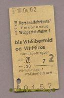 (L07) Pappfahrkarte DB -->Wuppertal - Wt-Elberfeld (1962) - Bahn