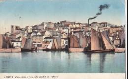 AO73 Lisboa, Panorama E Docas Do Jardim Do Tabaco - Sailing Boats, 1913 Postcard - Lisboa