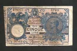 REGNO D' ITALIA - 5 LIRE - Vitt. Emanuele III (Decr. 29/07/1918 - Firme: Giu. Dell'Ara / Porena) - Regno D'Italia – 5 Lire