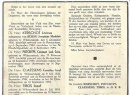 DP4/ 4 GESNEUVELDEN 1944 VAN WILMARSDONK:KERSCHOT/PUTCUYPS/CLAESSENS/TIBOS - Religion & Esotericism