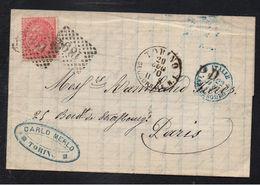 TORINO - TURIN - ITALIE - ITALIA / 1870 LAC POUR PARIS & CACHET D'ENTREE EN FRANCE (ref 7440) - Marcophilie
