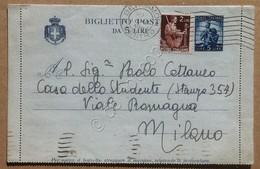Storia Postale Italia Repubblica -  Biglietto Postale Democratica 5 Lire + 2 - Francobolli