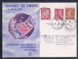 Carte Federale  Journee Du Timbre 1939 Montpellier Semeuse Mercure Taxe - France