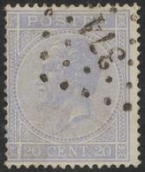 """émission 1865 - N°18 Obl Pt 374 """"Verviers"""" + Curiosité : L'ensemble Du Cadre Gauche A Subi Une Fissure - 1865-1866 Profile Left"""