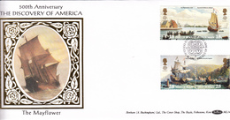 Isle Of Man 1992 Discovery Of America - On Silk FDC - Man (Insel)