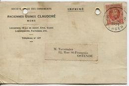 COB 192 Sur Carte Pub Des Anciennes Usines Claudoré à Mons 1924 - 1922-1927 Houyoux