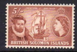 Solomon Islands 1956-63 5/- Mendana Explorer Definitive, Hinged Mint, SG 94 (B) - British Solomon Islands (...-1978)