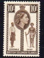 Solomon Islands 1956-63 10/- Constable & Chief Definitive, Hinged Mint, SG 95 (B) - British Solomon Islands (...-1978)