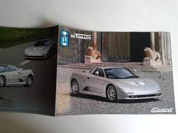 Dep038 Depliant Brochure Advertising Carrozzeria De Tomaso Guarà Prototipo Prototype Salone Auto Sport Spider Design - Automobili
