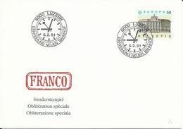 797, EUROPA, Bâtiments Postaux, Oblitération Spèciale Luzern 5.2.91, Nouvelle Gare, Env. Franco, Montre, Non Voyagé - Schweiz
