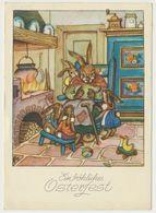 AK CP  Glückwunsch Ostern Hasen Vermenschlicht Am Herd Oma Erzählt - Pâques
