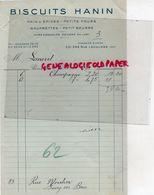 75- PARIS- FACTURE BISCUITS HANIN- PAIN D' EPICES-PETIT BEURRE-331 RUE LECOURBE- 1932 - Alimentaire