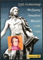 """Germany/Österre 2006 Big Gedenkblatt/Folder W.A.Mozart Mit Mi.Nr.2512 """"250.Geburtstatg Von W.A. Mozart""""mit.ESST""""1 Folder - Musik"""