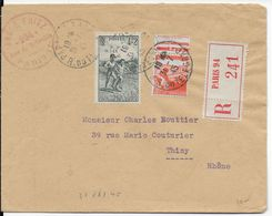 1945 - ENVELOPPE RECOMMANDEE De PARIS - 1921-1960: Periodo Moderno