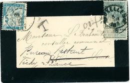 ZZ344 - BELGIQUE Petite Enveloppe De Deuil TP Armoiries BRUXELLES 1896 En Ville - Réexpédiée En TAXE SIMPLE à VICHY - Taxes