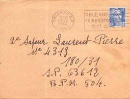 FRANCE ENVELOPPE DU 25 FEVRIER 1952 DE ORLEANS POUR SP 63612 BPM 504 POSTE AUX ARMEES - France
