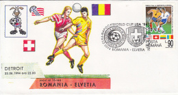 70458- USA'94 SOCCER WORLD CUP, ROMANIA-SWITZERLAND GAME, SPECIAL COVER, 1994, ROMANIA - World Cup