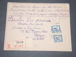 INDOCHINE - Enveloppe En Recommandé De Traon Pour Saïgon En 1937 - L 15669 - Indochina (1889-1945)