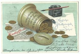 Neujahr Spardose Münzen Geldschein Tintenfass Litho 1899 - Neujahr