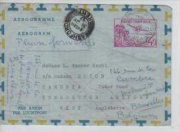 Belgisch Congo Belge Aérogramme C.Léopoldville Aéroport En 1957 V.Great Britain Forwarded To Belgium PR1394 - Entiers Postaux