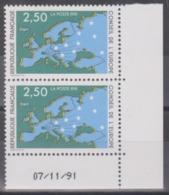 Année 1991 - N° 106 Et 107 X 2 - Conseil De L'Europe : Carte D'Europe Et étoiles - 2 Valeurs - Datés Neufs - Service