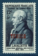 French Tunisia, Stamp Day, Lavallette, Minister Of Posts, 1954, MH VF - Tunisia (1888-1955)