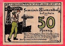 Allemagne 1 Notgeld 50 Pfenning Stadt Blumenthal UNC Lot N °505 - [ 3] 1918-1933 : Weimar Republic