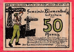 Allemagne 1 Notgeld 50 Pfenning Stadt Blumenthal UNC Lot N °505 - Collections