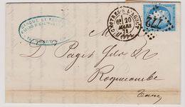 Cérès N° 60 A Position 119 B2 1er état GC 772 Castre-sur-Argout Sur Lettre 2 Scans - 1871-1875 Cérès