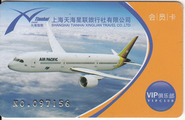 CHINA - Air Pacific, Shanghai TianhaiXinglian Travel Co.Ltd, VIP Member Card, Used - Avions