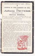 DP Juliana Pieters ° Bekegem 1858 † Eernegem 1928 X Henri Rosseel - Devotion Images