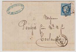 Cérès N° 60 A Position 107 B2 GC 1533 Foix Sur Ariège Sur Lettre 2 Scans - 1871-1875 Cérès